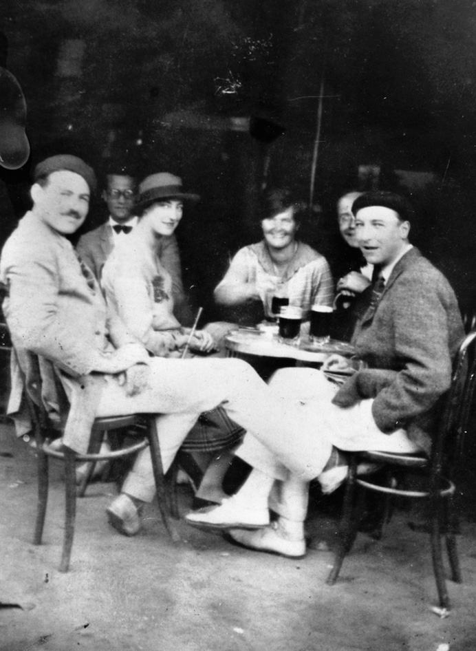 The Hemingways and friends at a café in Pamplona, Spain (left to right: Ernest, Harold Loeb, Duff Twysden, Hadley, Don Stewart, Pat Guthrie)