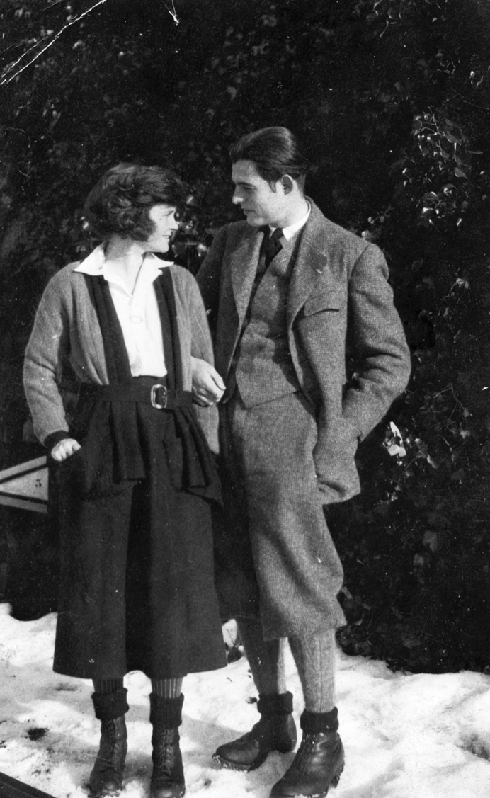 Ernest and Hadley Hemingway, Chamby, Switzerland, winter 1922